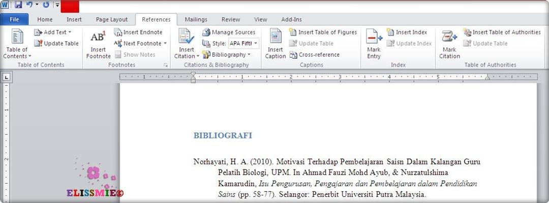 senangnya tulis rujukan apa style dalam microsoft word 2010  siapa pelajar kat sini