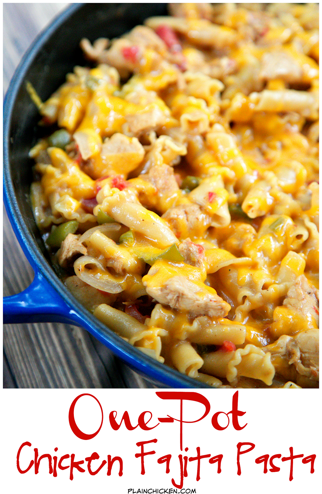 One-Pot Chicken Fajita Pasta Recipe - everything cooks in the same pan, even the pasta! Ready in under 20 minutes!! Chicken, onions, peppers, Rotel, fajita seasoning, chicken broth, cream, pasta, sour cream and cheese. Everyone gobbled this up! Quick, easy and delicious Mexican meal!
