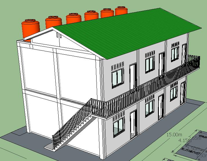 desain sketchup rumah sewa 6 pintu di lahan 10 x 15 m