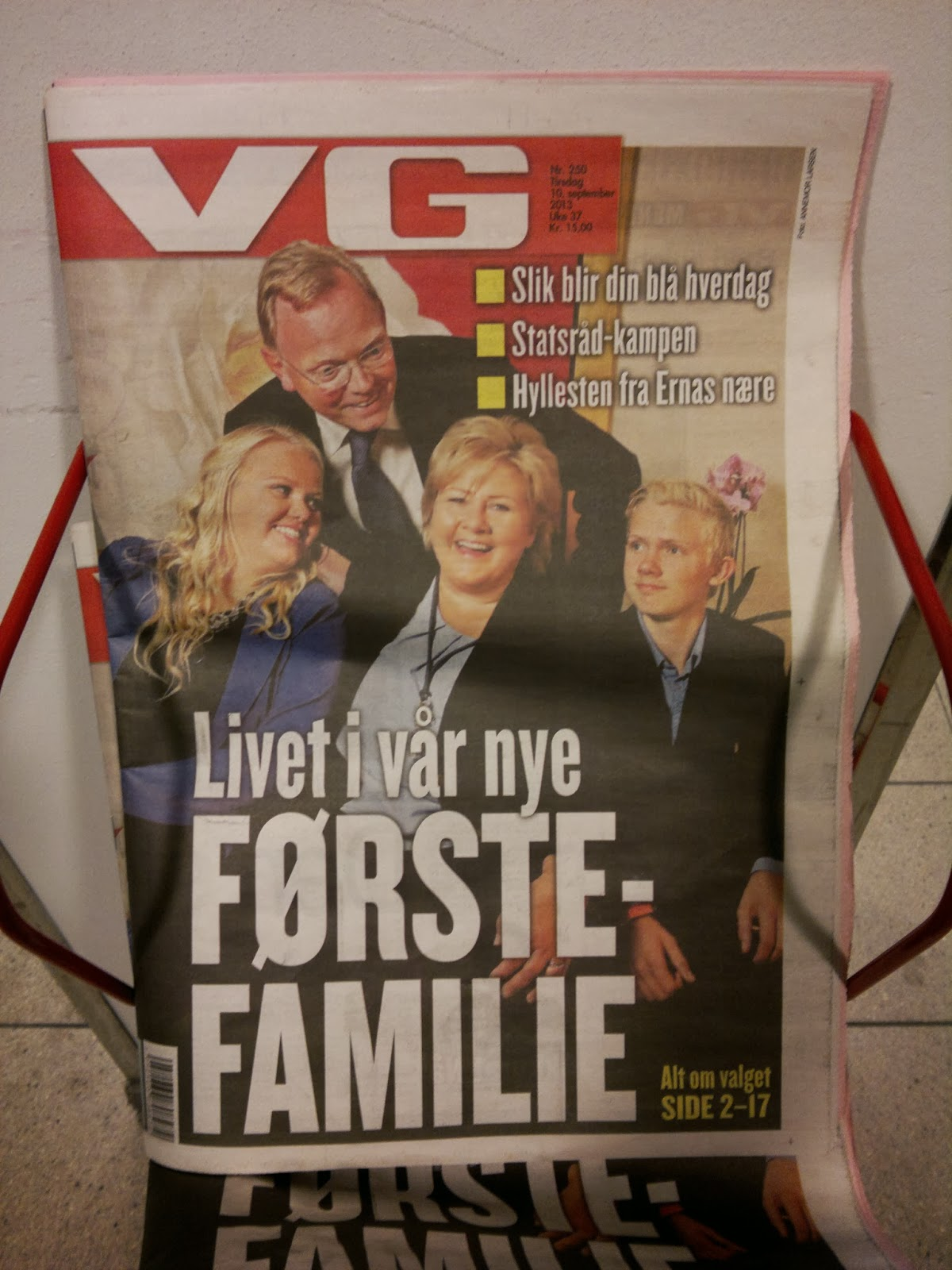 VG's front page after election night 2013