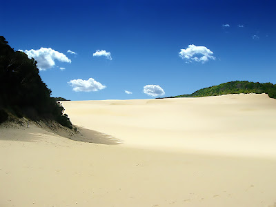 White sand wallpapers with blue sky and two mountain