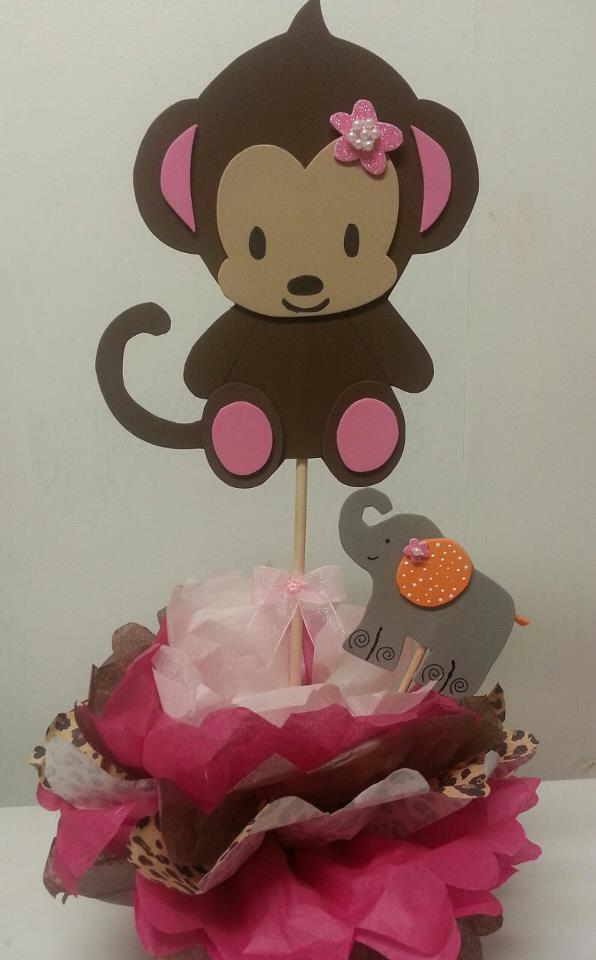 monkey girl centerpieces baby shower theme centerpieces