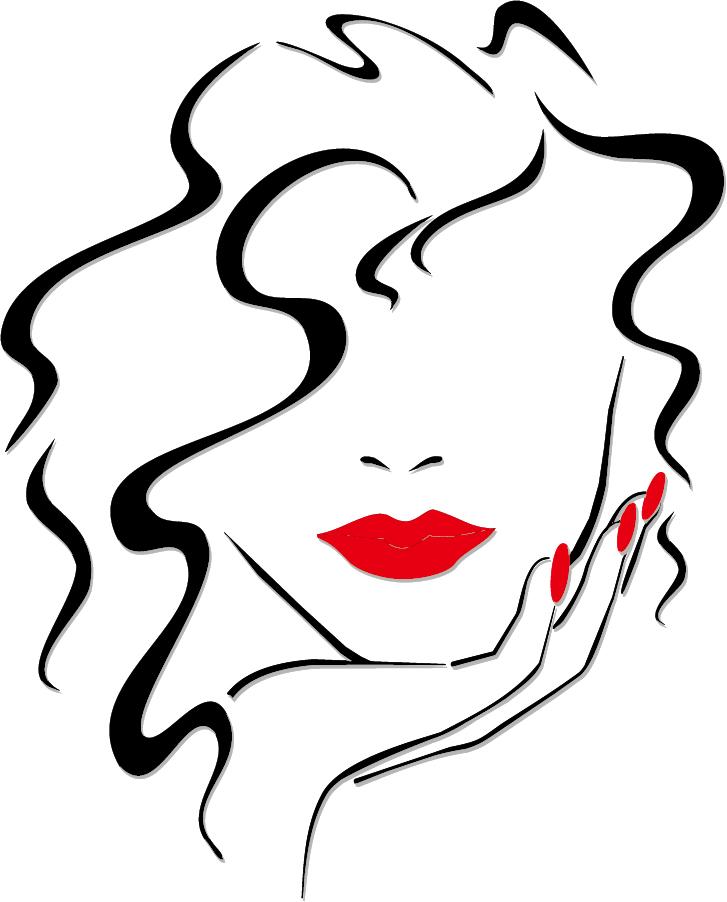 女性の唇を強調して描いた線画 sexy girls lips vector イラスト素材2