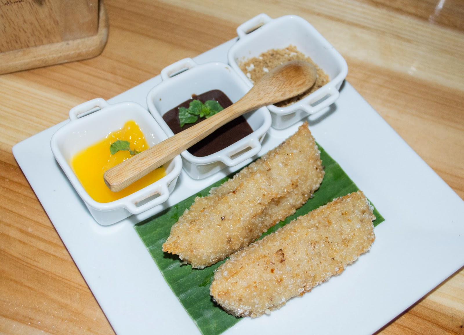 Fried Ibos with Mango Compote, tablea dip and muscuvado sugar - Cafe Panay by Panay Tours Specialists