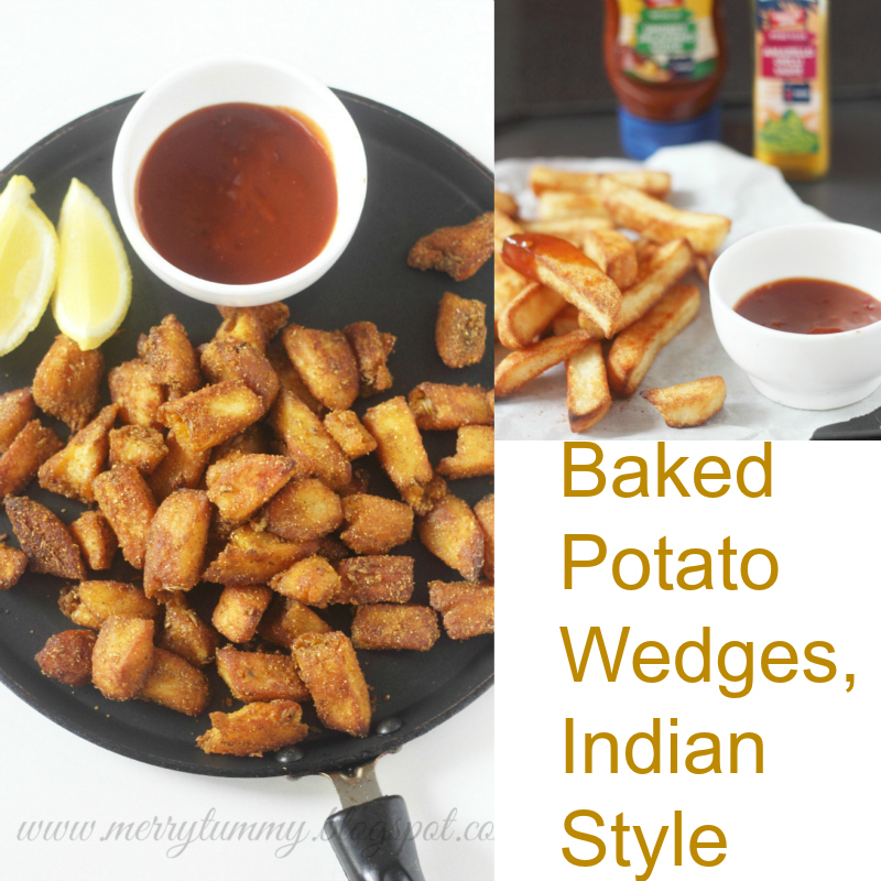 Baked Potato Wedges: Two Kinds: Red Chilli and Coriander Powder and ...