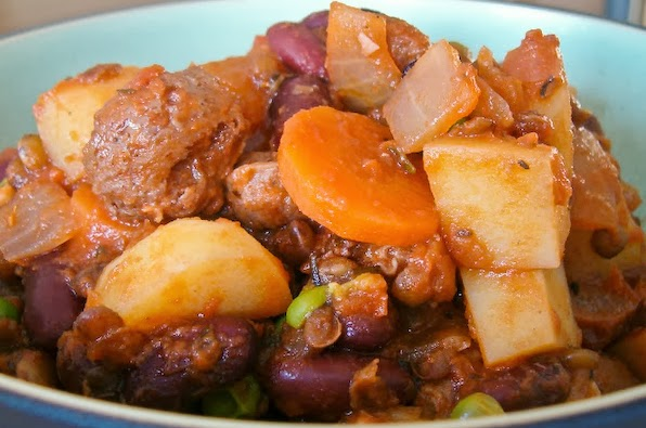 Vegan Stew with Puy Lentils and Red Kidney Beans.