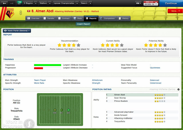 Coach report screen in Football manager 2013