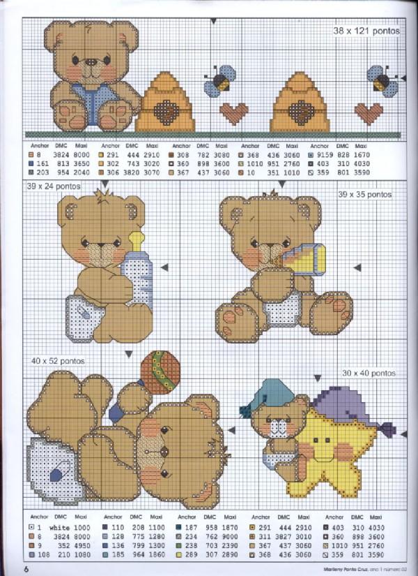 Clique no gráfico em ponto cruz dos ursinhos bebês , para ampliar