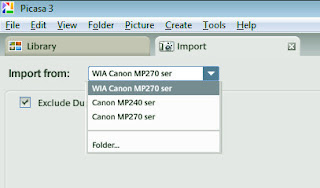 Select the import source in Picasa