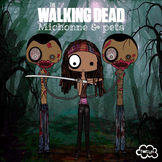ilustración original | original illustration foltys vs the walking dead: michonne & pets