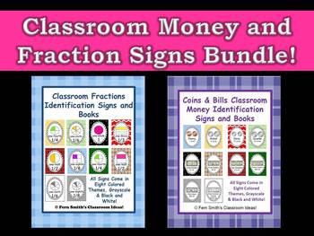 Fraction and Money Identification Signs and Books for Your Classroom By Fern Smith