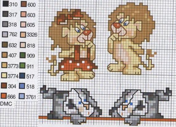 Patrones Punto de Cruz: León-leona y perros, cenefas