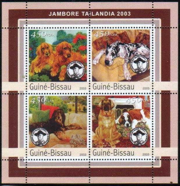 2003年ギニアビサウ共和国 ゴールデン・レトリーバー グレート・デーン ビアデッド・コリー レオンベルガーとセント・バーナードの切手シート