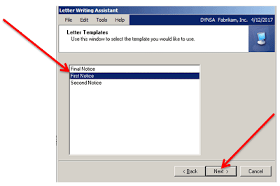 Select First Notice to Customer in Dynamics GP, Letter Writing Assistant