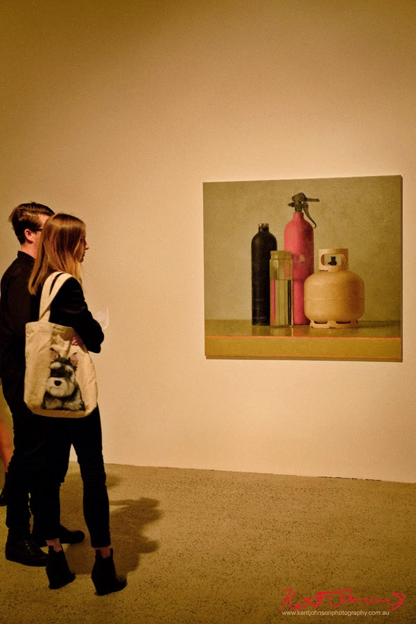 JUDE RAE at JENSEN GALLERY - Still Life with gas bottles - Photo By Kent Johnson.