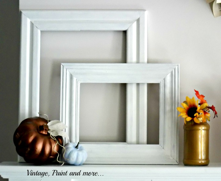 Vintage, Paint and more... metallic and powder blue fall mantel