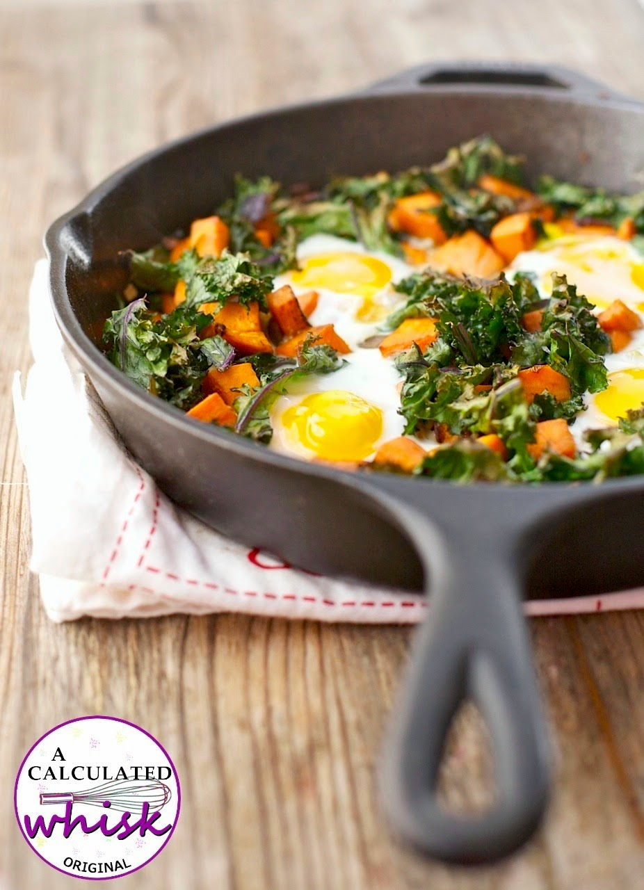 Sweet Potato & Crispy Kale Breakfast Skillet--Paleo, Gluten free, Dairy free acalculatedwhisk.com