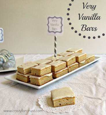 Very vanilla bars on a white tray with title