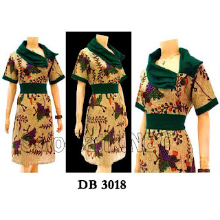 DB3018 - Model Baju Dress Batik Modern Terbaru 2013