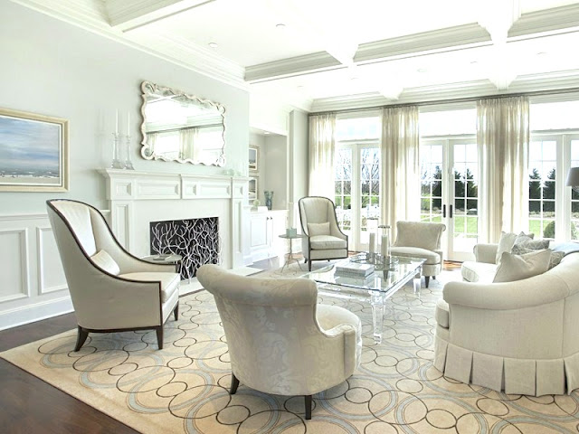 Living room Hamptons mansion Water Mill estate coffered ceiling French door traditional fireplace mantel