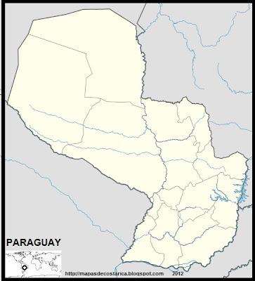 Mapa Político de PARAGUAY (mapa mediano)