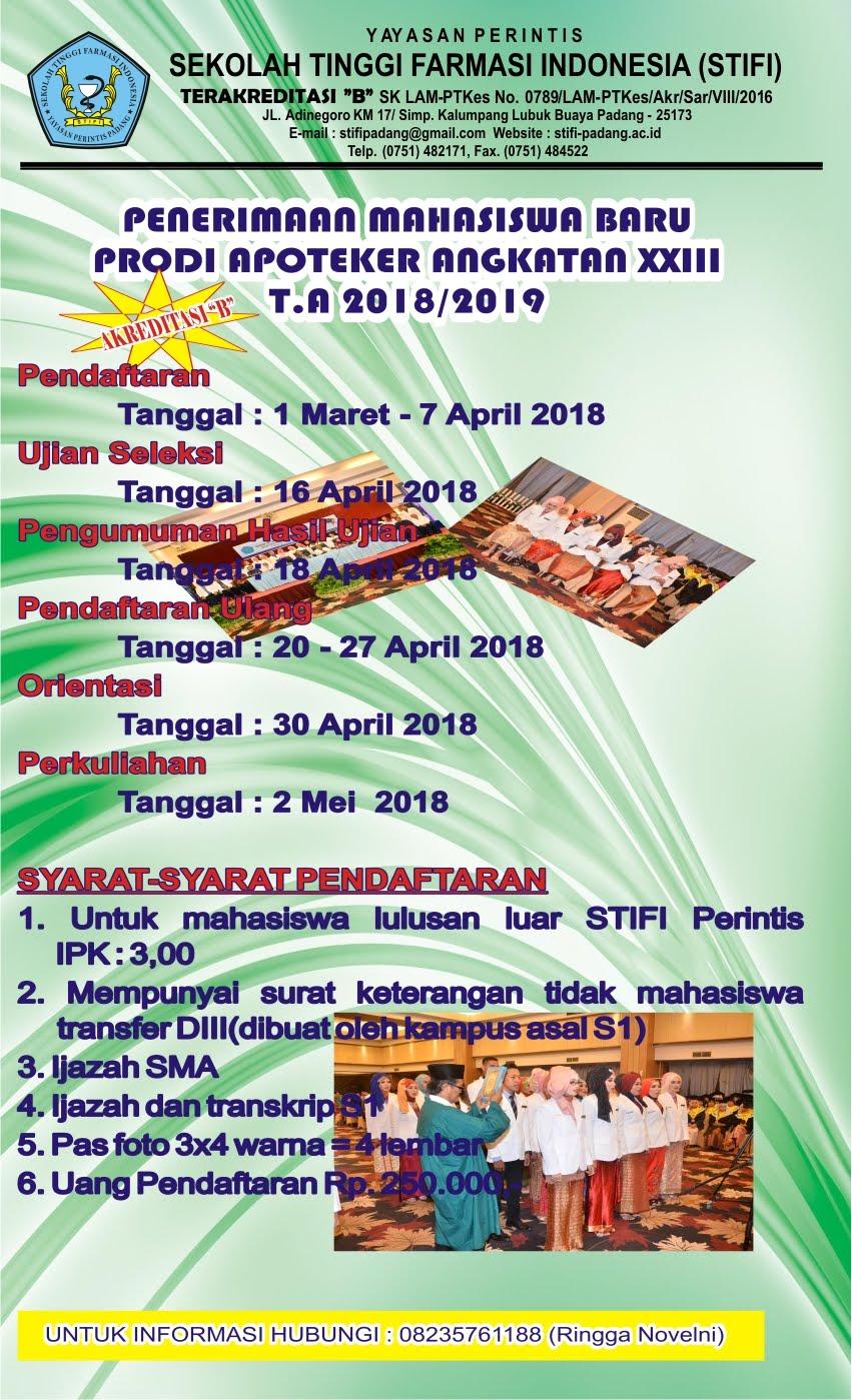 DAFTAR ULANG MAHASISWA PROFESI APOTEKER ANGKATAN XXIII T.A 2018/2019 STIFI PERINTIS PADANG