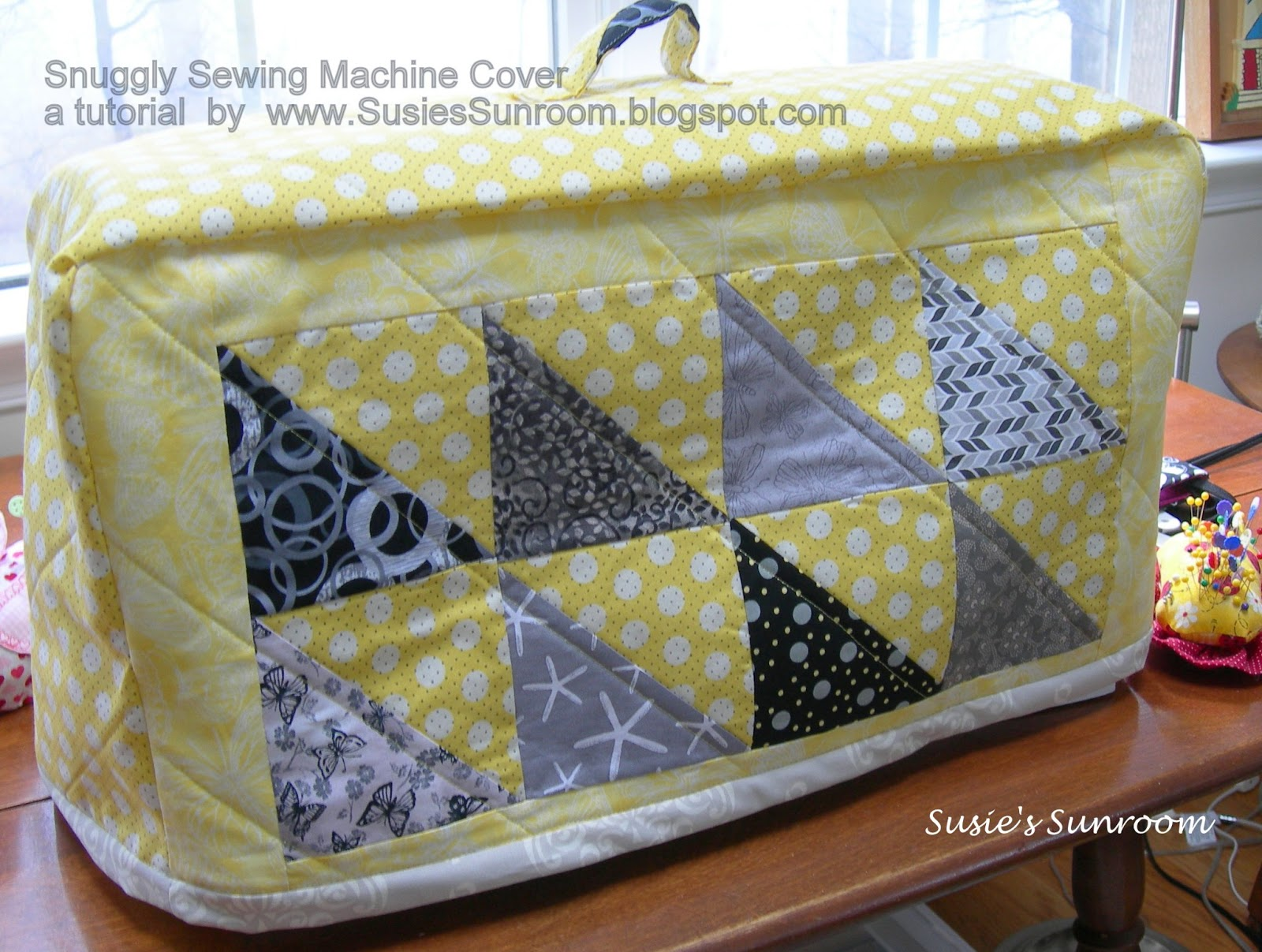 how to make a sewing machine cover with handle