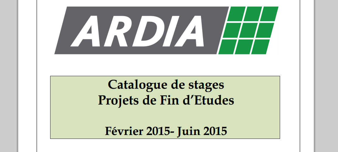 ardia catalogue de stages projets de fin d u2019etudes 2015