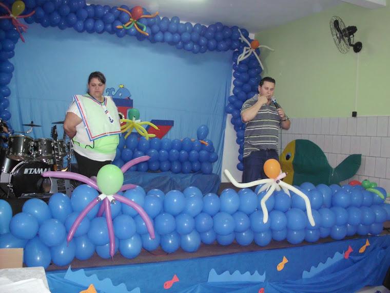Evento MENIBRAC - Dia das Crianças-  Lilian (à esq) e Pastor Cleber( à dir)