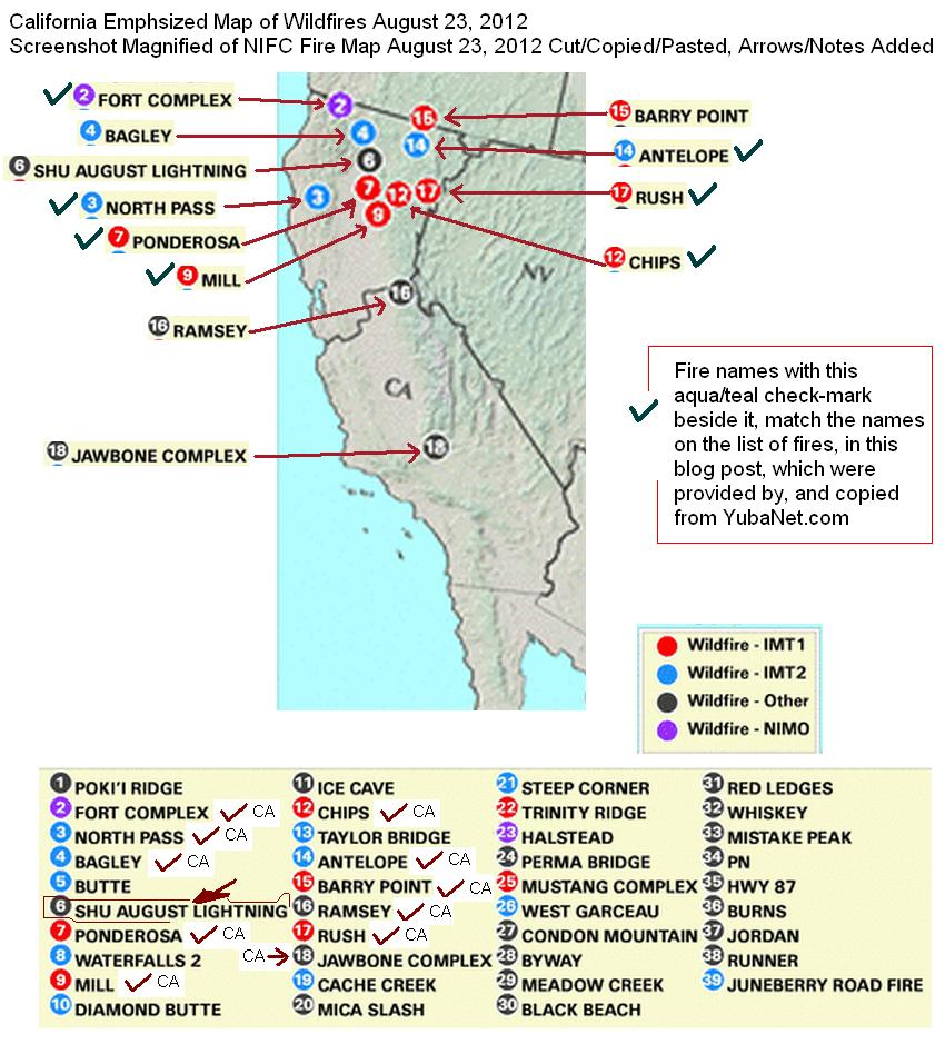 california wildfires august 23 2012 direct list of fires and straightforward maps