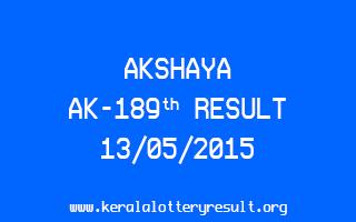 Akshaya AK 189 Lottery Result 13-5-2015