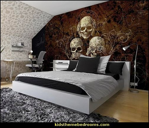 Three Skulls Wallpaper Mural. Decorating theme bedrooms   Maries Manor  skull bedding   skull