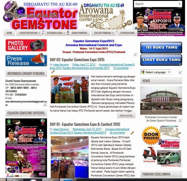 Tampilan Blog saat menjadi Blog Informasi Equator Gemstone Expo 2015