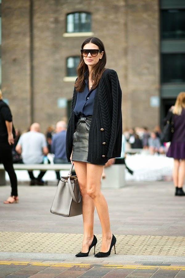 minimal classic leila yavari lfw street style. balmain cardigan navy shirt black leather skirt fendi peekaboo tote celine sunglasses