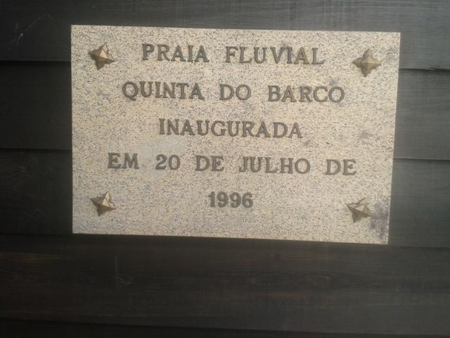 Placa da Inauguração da Praia Fluvial da Quinta do Barco