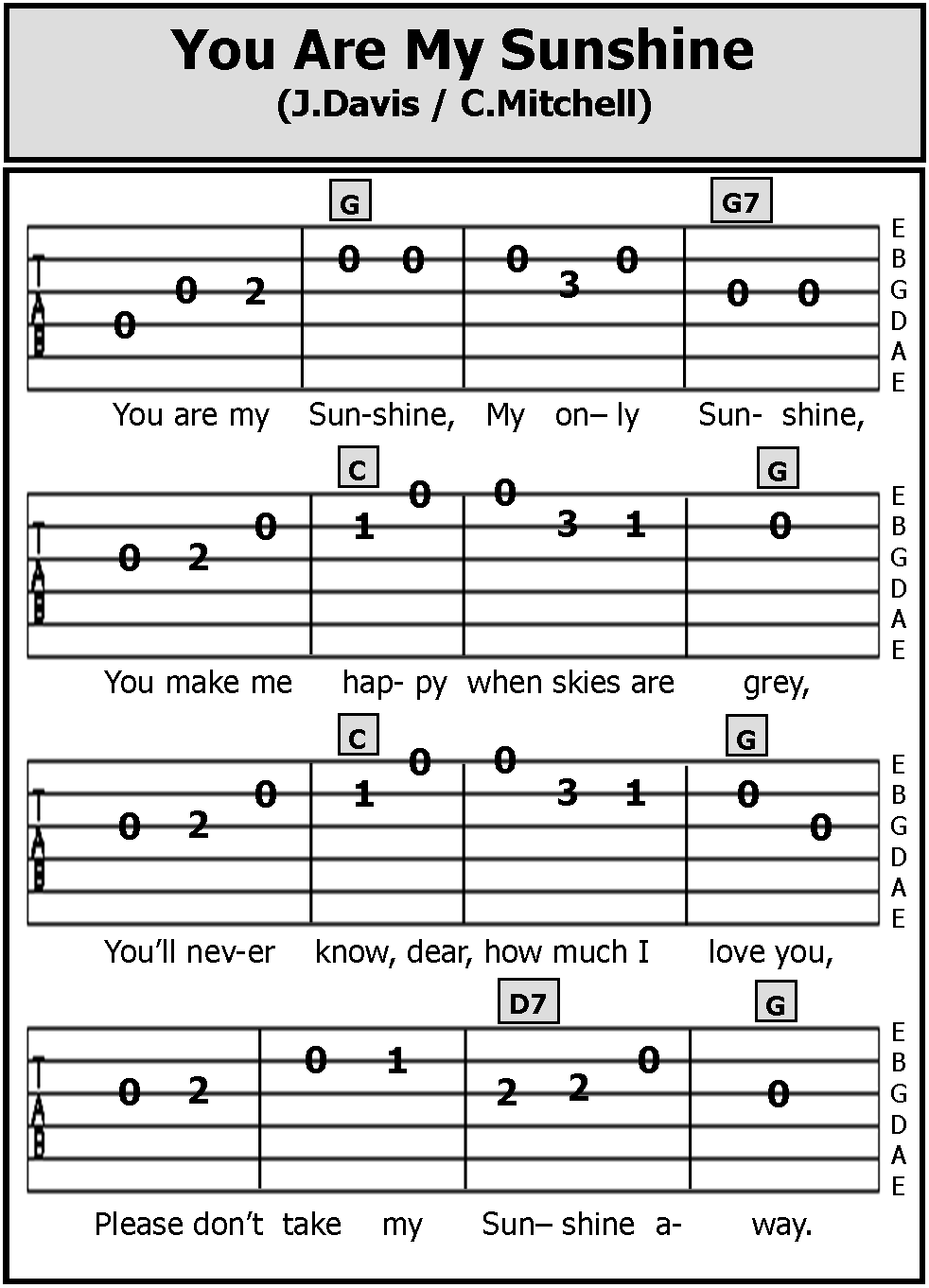 Guitar Tab Songs You Are My Sunshine