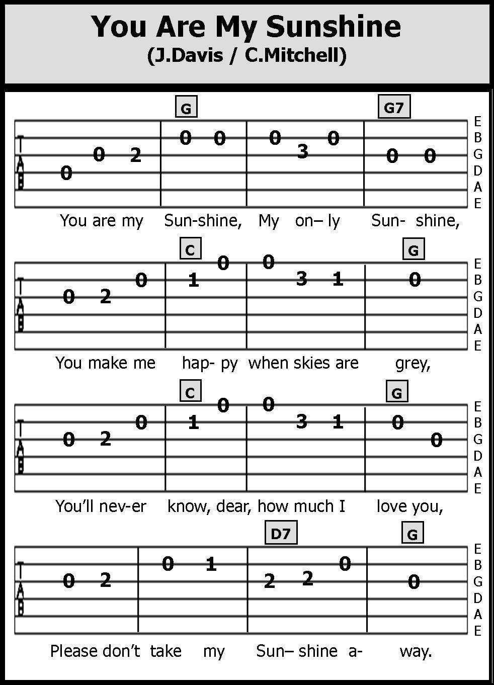 Chord Gitar You Are My Sunshine