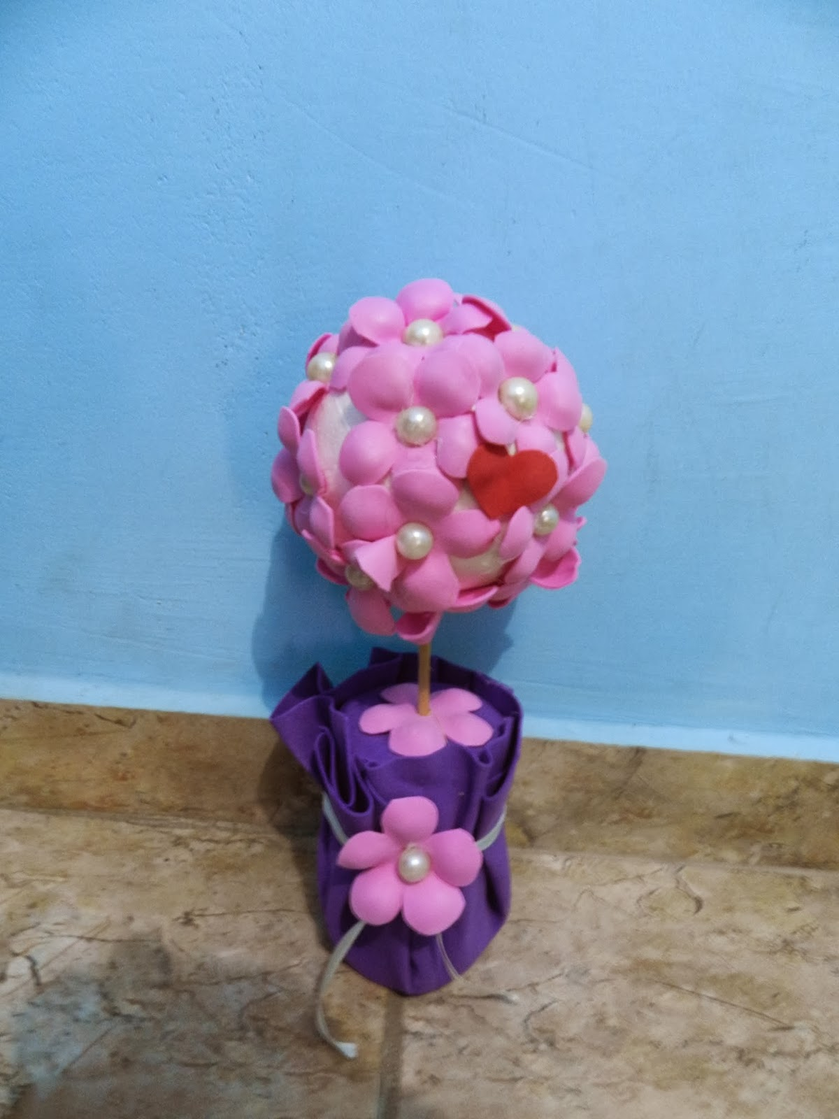 Passo a passo topiaria com flores de EVA fáceis de fazer