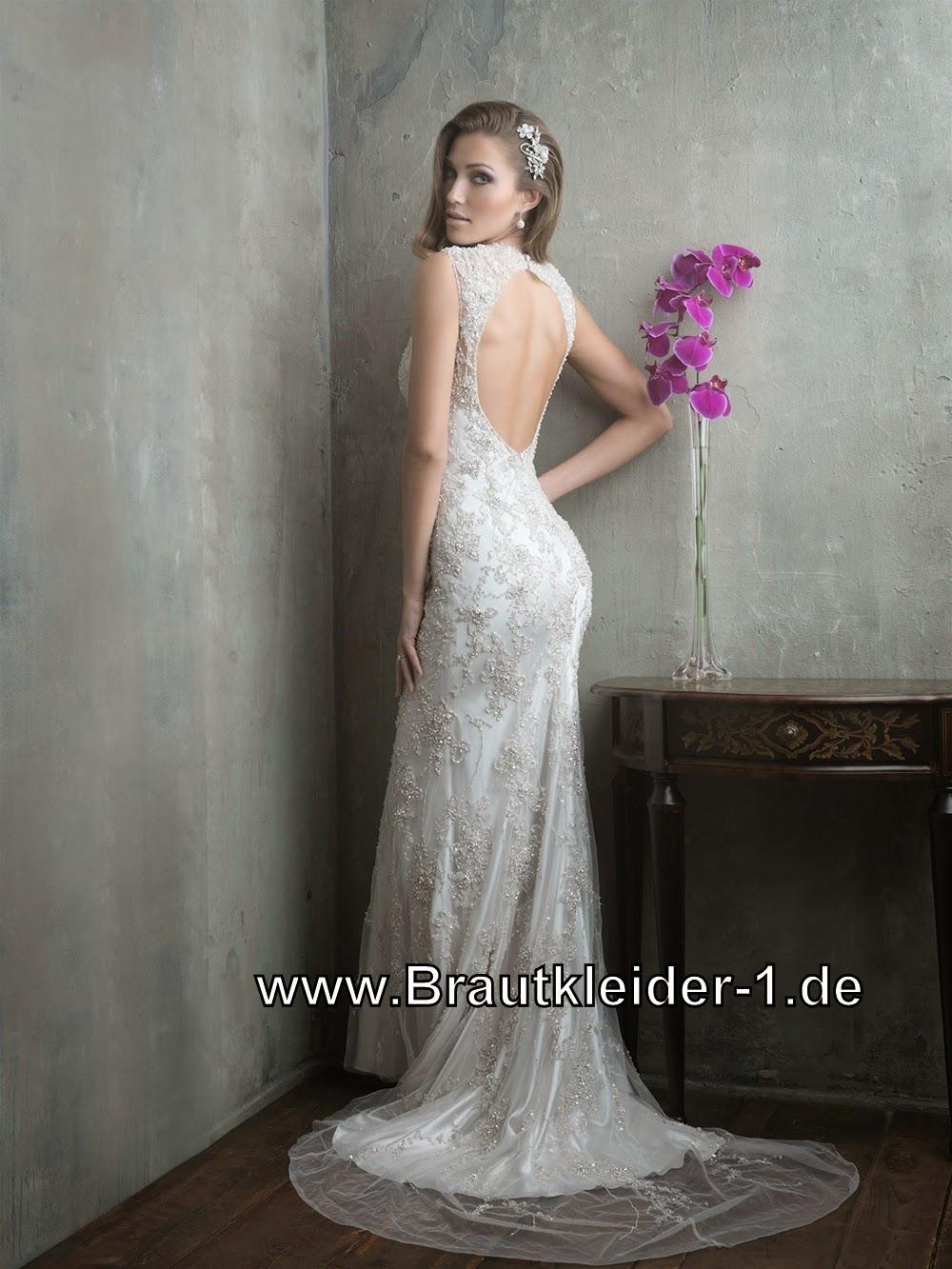 Brautkleider Brautmode: Luxus Etui Brautkleid Summer mit V Dekoltee ...