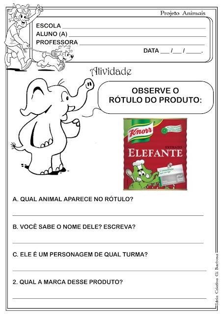 Atividade com Rótulo  Projeto Animais Centenário Vinicius de Moraes