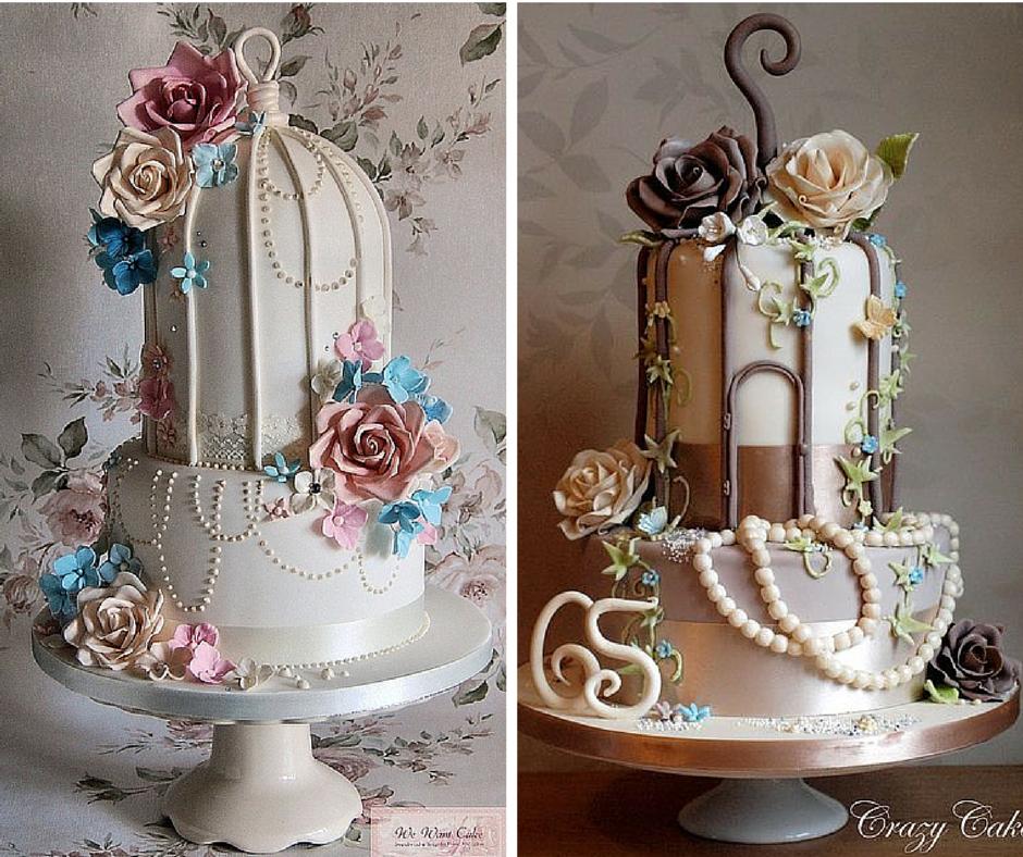 нестандартни сватбени торти кафези