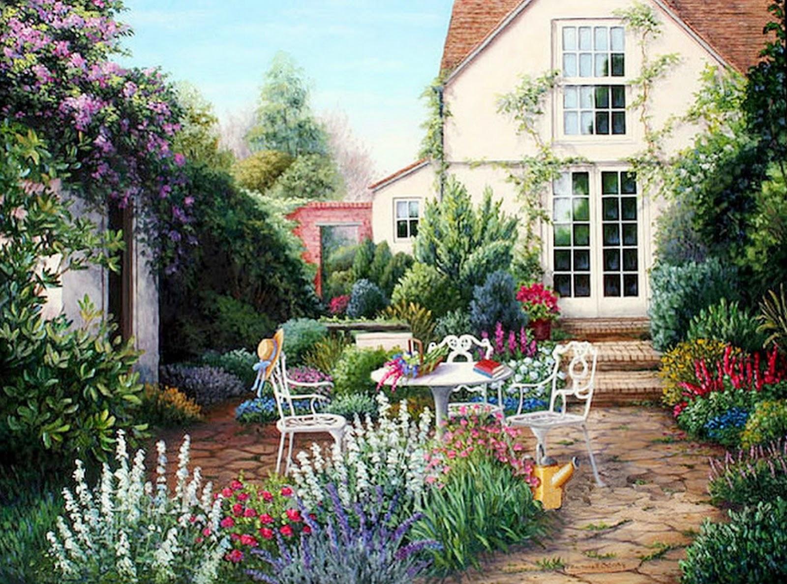 Cuadros modernos pinturas y dibujos cuadros de casas con - Casas con jardines bonitos ...