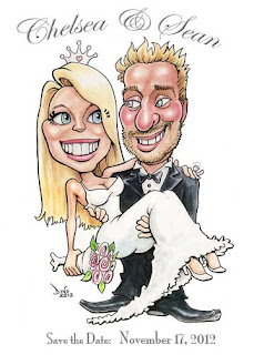 caricature save the dates