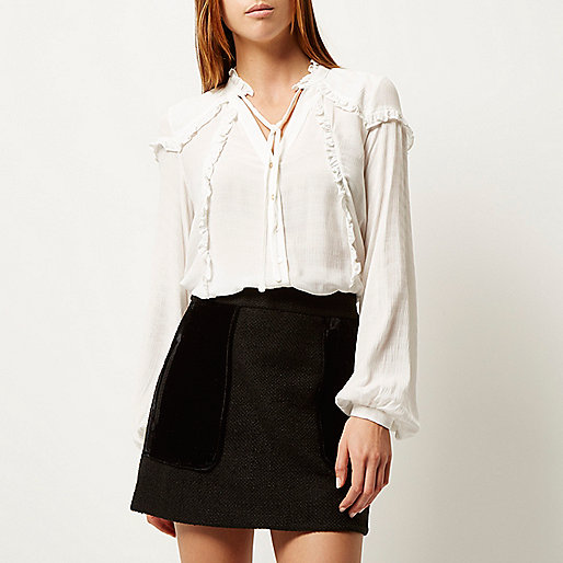 white frilly blouse, river island white blouse,