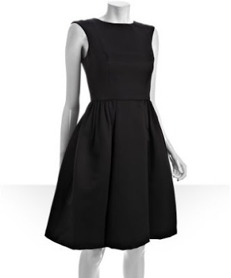 black faille pleated skirt dress