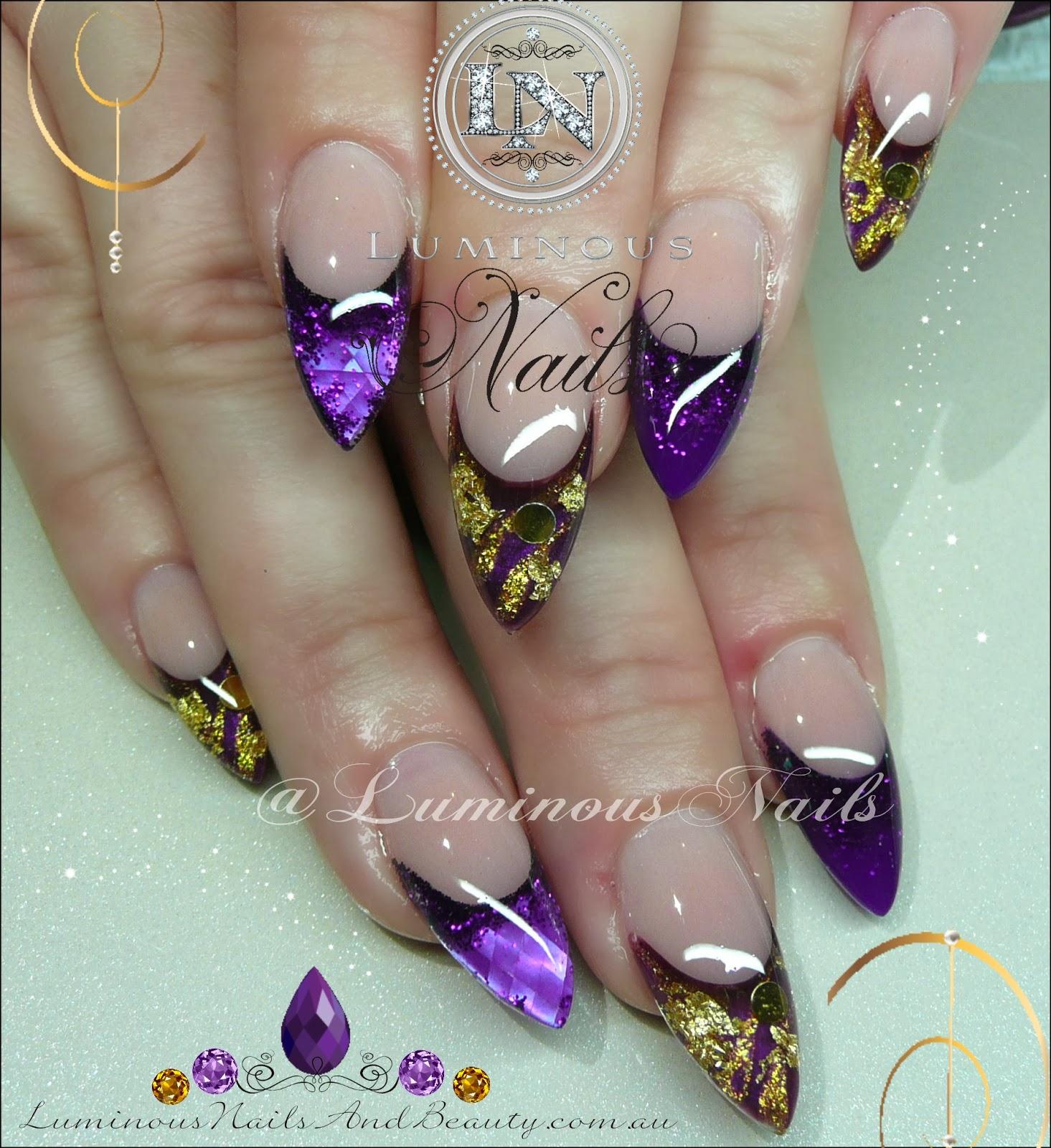 Purple Gold Nail Art August 2018 Deals