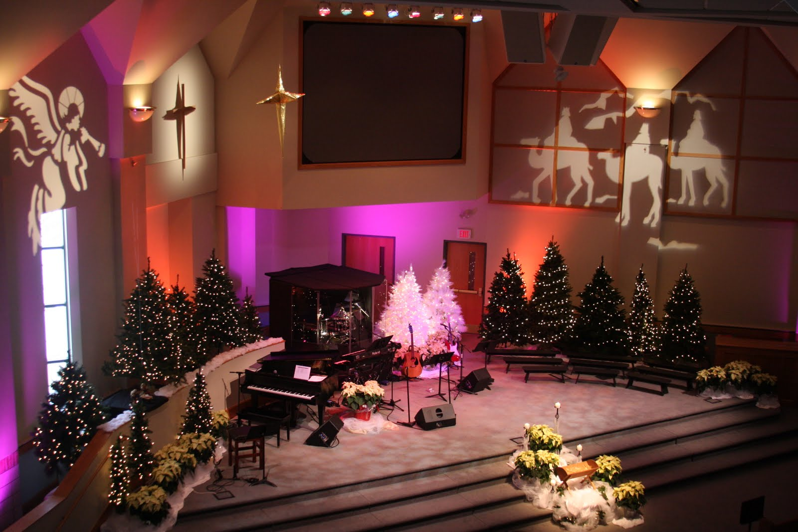 church stage decorating ideas back to fake trees advent 2009 - Christmas Church Decoration Ideas