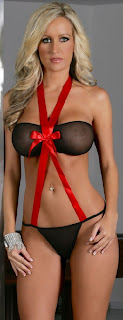 2 Pc Set Bandeau top with Thong-Black/Red