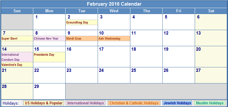 Holidays In February 2016 | Calendar Template 2016