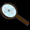 Descrição da imagem: desenho de uma lupa. No centro o desenho da representação de um átomo. Fim da descrição